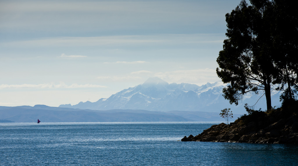 The Cordillera Real as seen from Lake Titicaca in Bolivia.