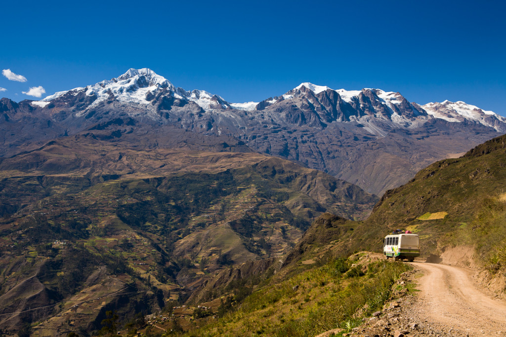 A bus heads to the town of Sorata in the northern Cordillera Real group in the Bolivian Andes.