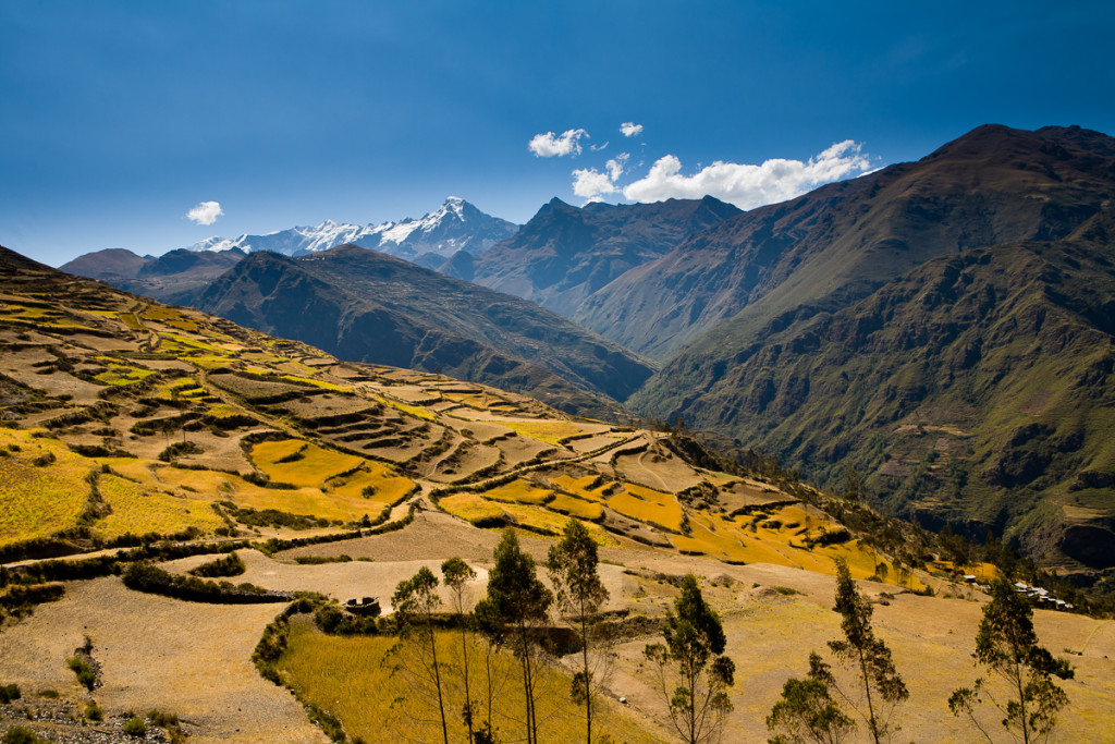 The steep, terraced Andes mountains are seen in winter in the Apolobamba Range in western Bolivia.