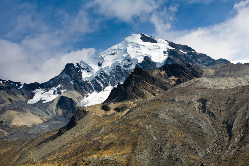 The glacier covered peaks of the Apolobamba Range in the Bolivian Andes near the town of Pelechuco.