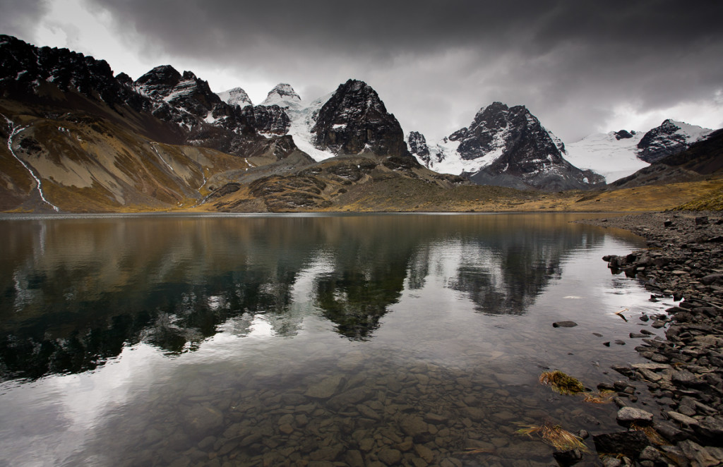 Lake Chiar Khota sits below Mt. Condoriri in the Cordillera Real