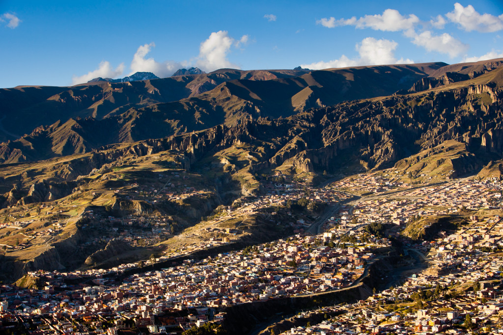 The sky-high capital city of La Paz (av. height of 11,500') lies in a deep canyon below the Bolivian Andes Mountains.
