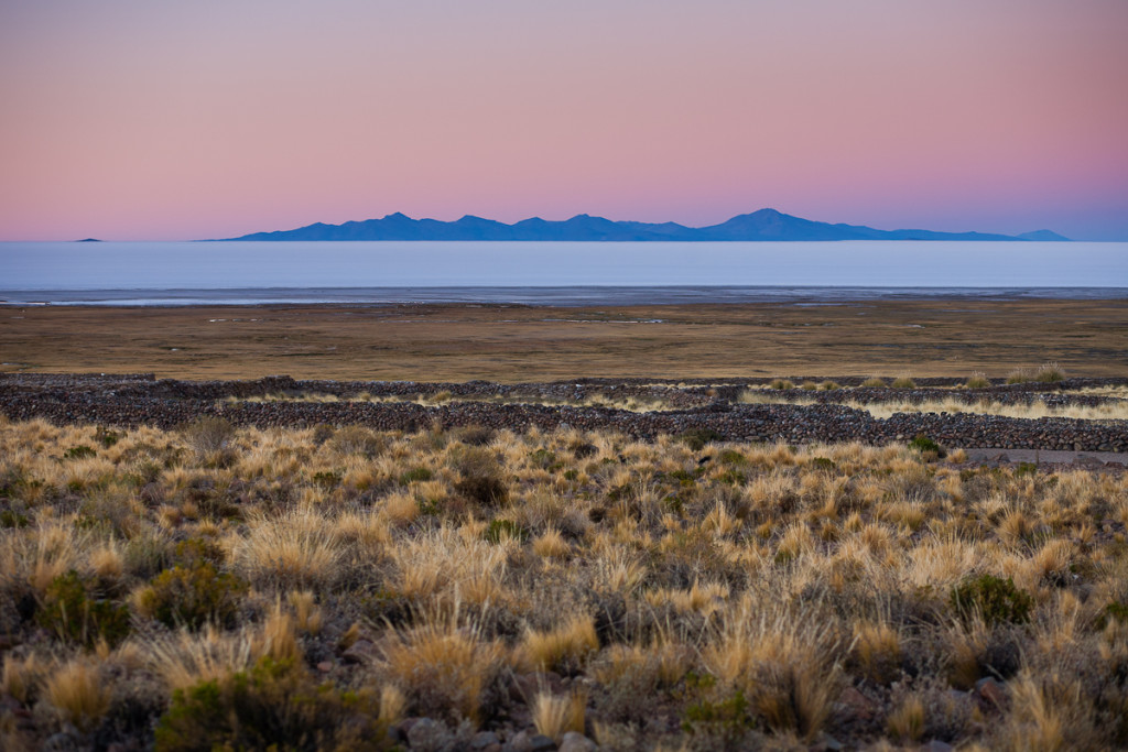 Sunrise colors on the  Salar de Uyuni salt flat in south-western
