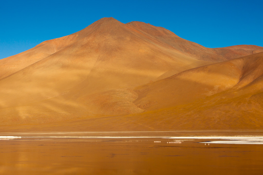 Morning sunshine reflects golden light off Laguna Colorada onto a rocky peak in southwestern Bolivia's Sud Lipez region, averaging 14,000 ft above sea level.