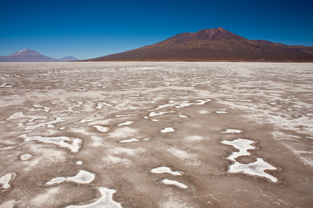 The Salar de Chiguana is a high-altitude muddy salt pan that str