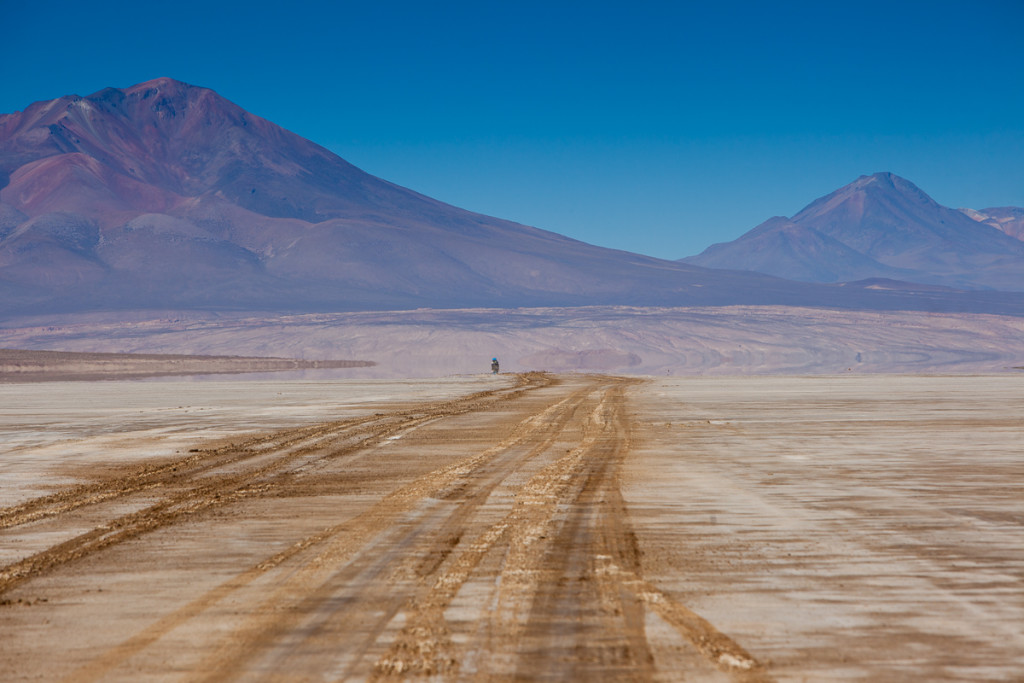 Adventure travelers ride 4x4 vehicles to the remote Sud Lipez region - a high-altitude desert in southwestern Bolivia.