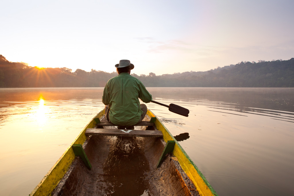 Corey Hendrickson canoeing at Chalalan Lodge in Bolivia.