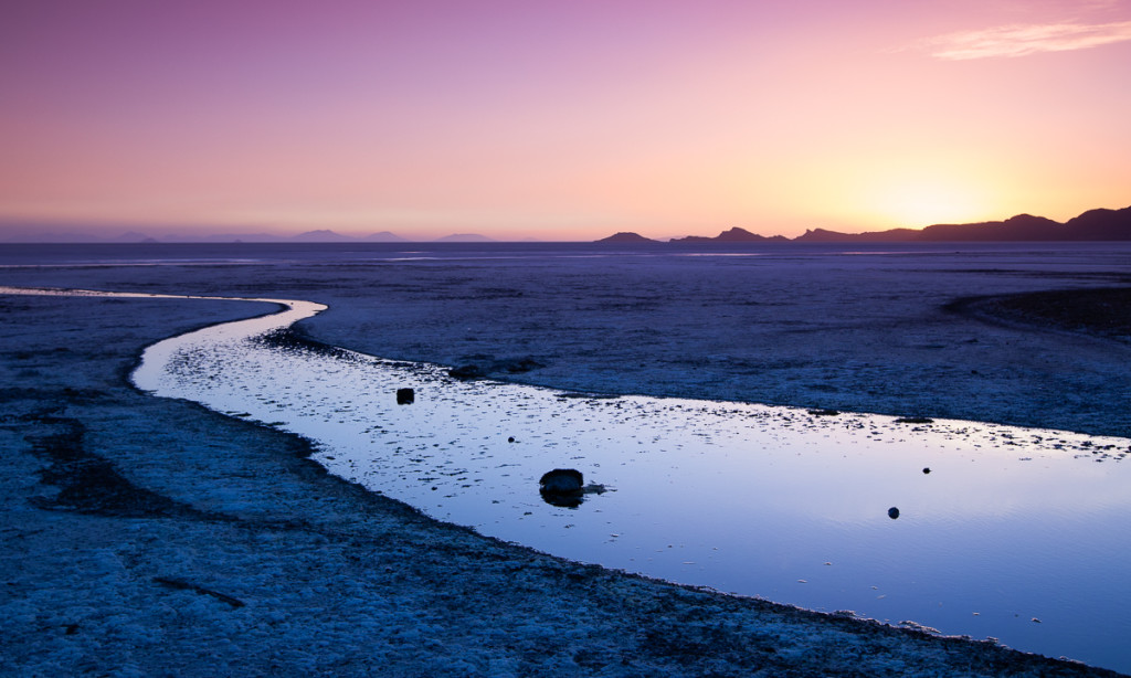 Sunset on the edge of the Salar de Uyuni on Bolivia's Altiplano.
