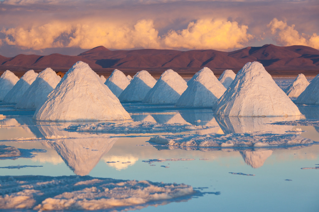 Pyramids of salt dry on the edge of the Salar de Uyuni on Bolivi