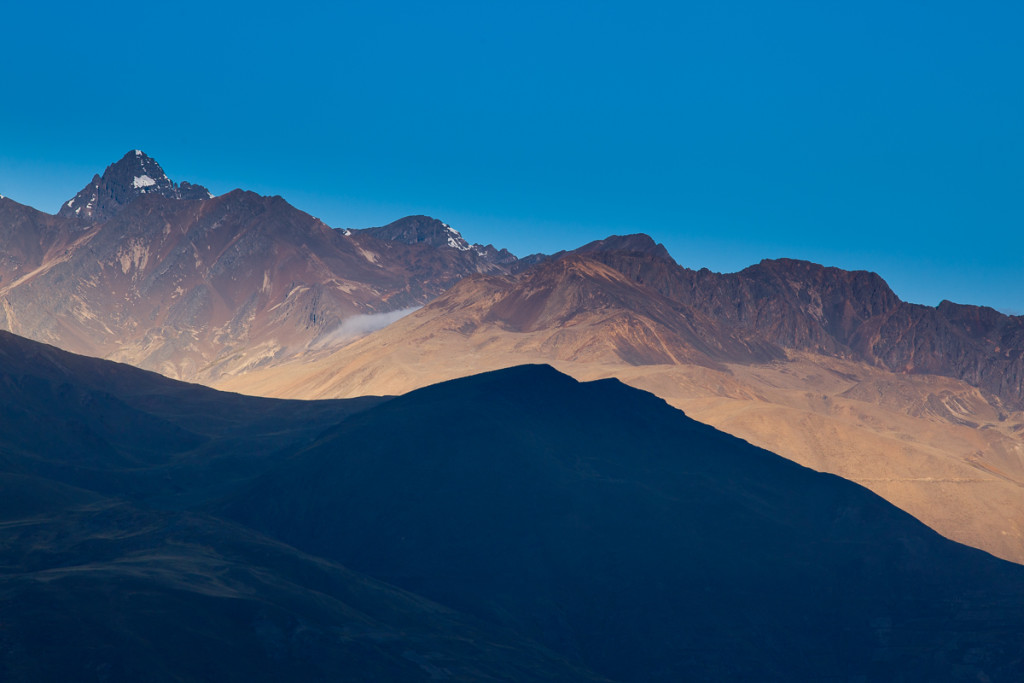 Lesser peaks of Bolivia's Cordillera Real at sunset as seen from