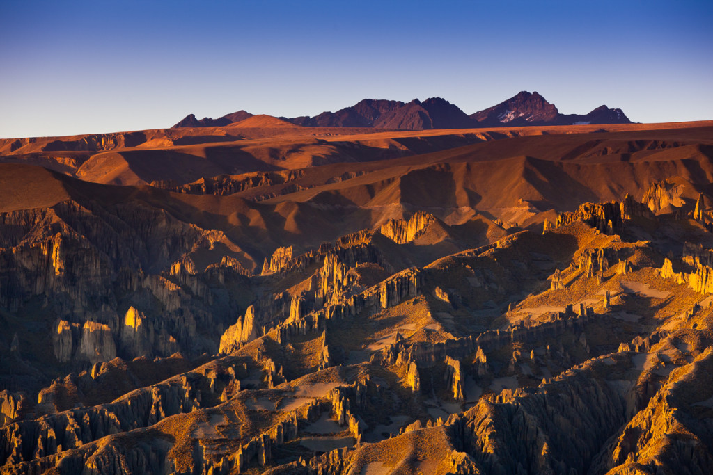 The small peaks of the Cumbre de Animas at sunset as seen from L