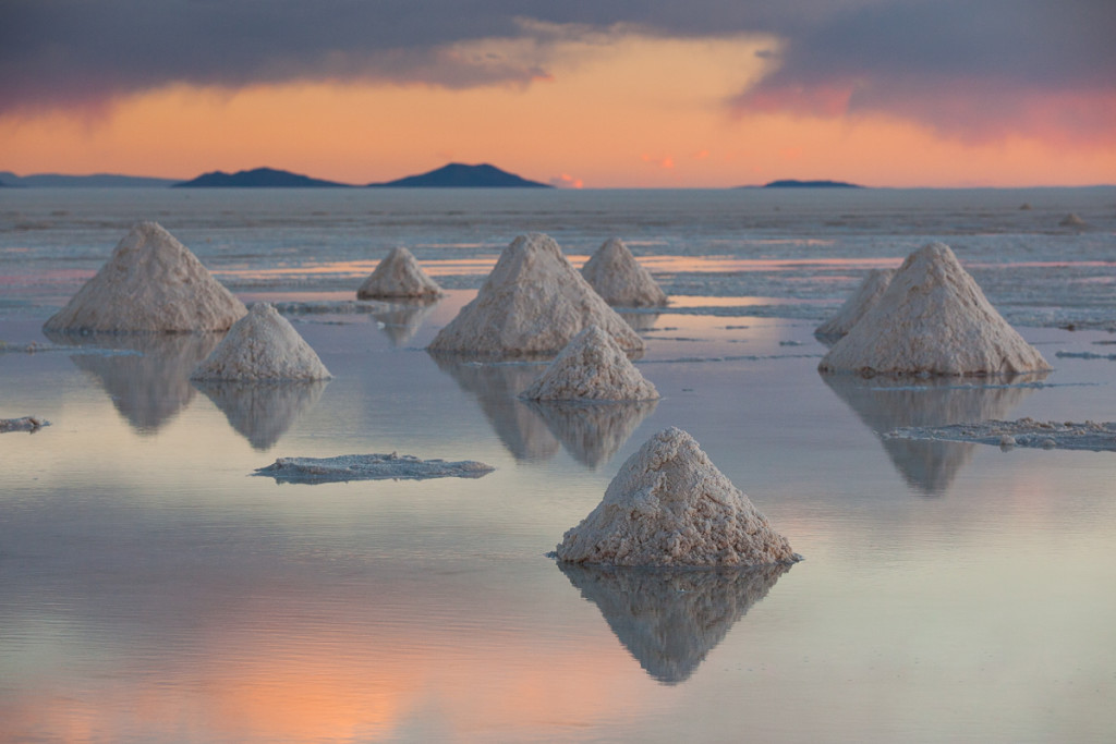 Pyramids of salt are left to dry in Bolivia's Salar de Uyuni (ne