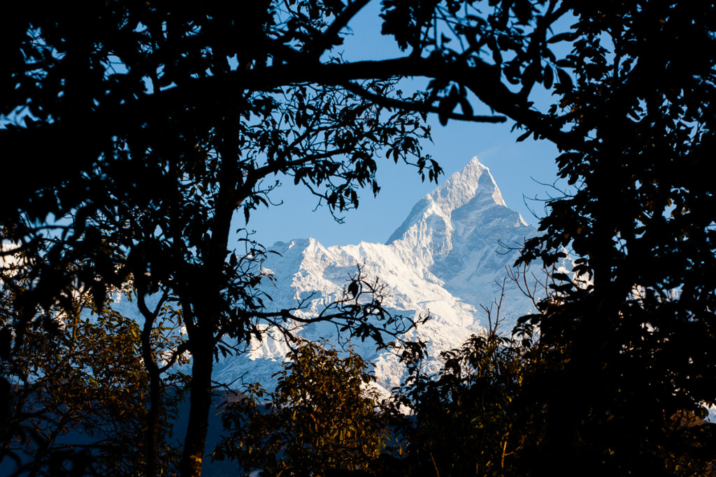 Machapuchare Peak or Fishtail Peak (6,995 m) rises quickly from the Himalaya mountains into the sky as seem from the World Peace Pagoda near Pokhara, Nepal.